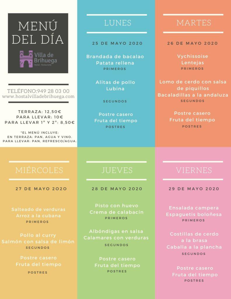 menu del dia del 25 al 29 de mayo