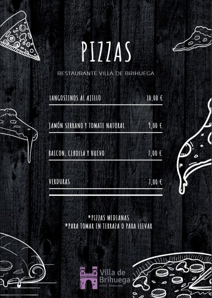 carta de pizzas villa de brihuega