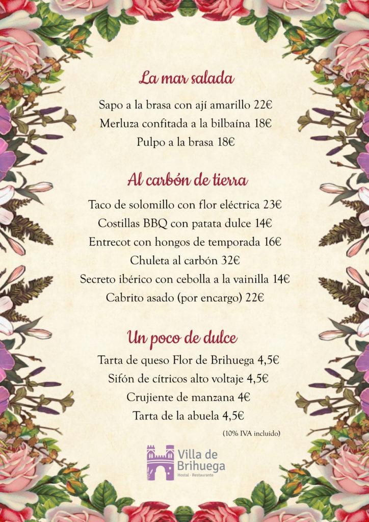 carta restaurante villa de brihuega