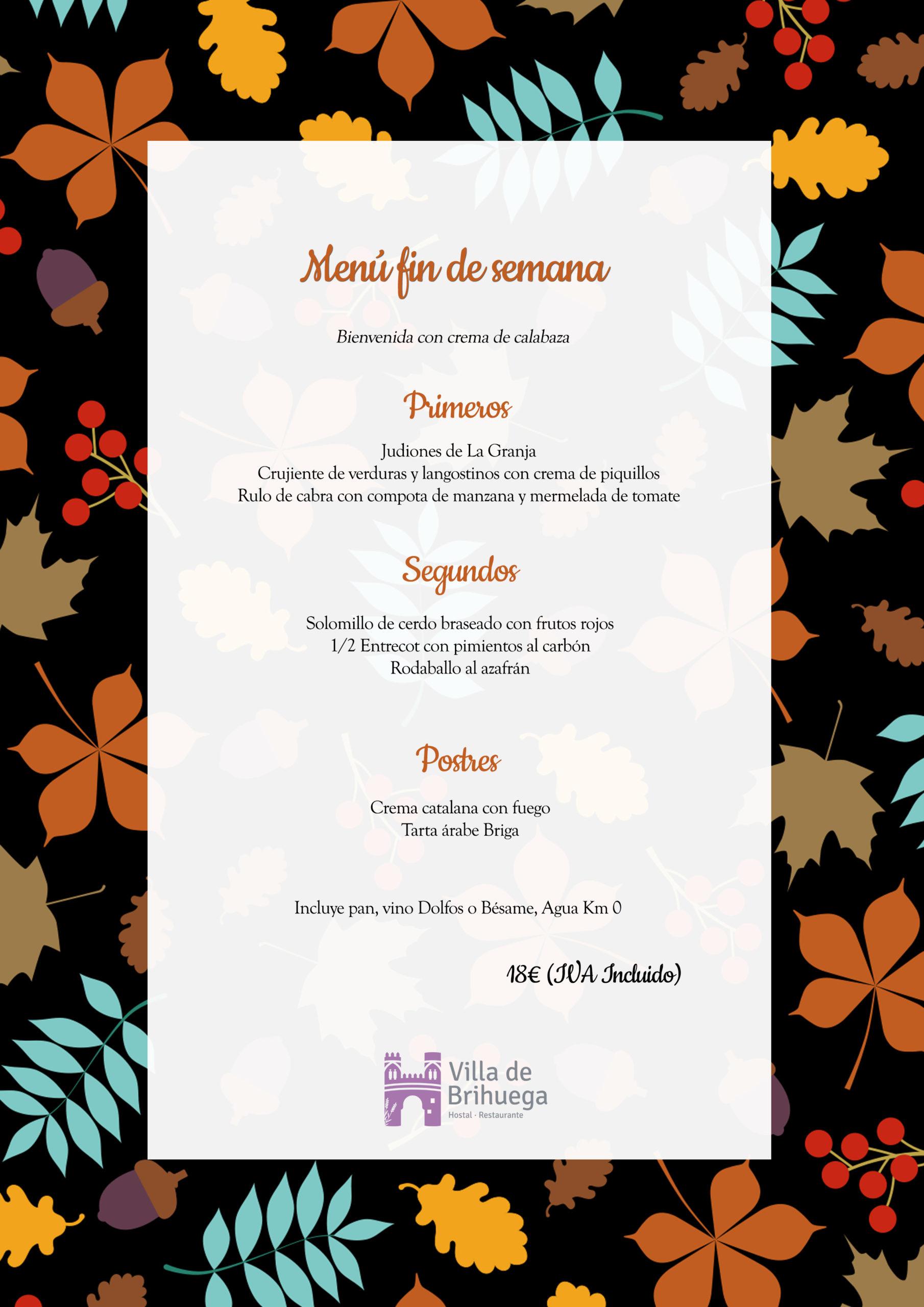 menú fin de semana Restaurante Villa de Brihuega