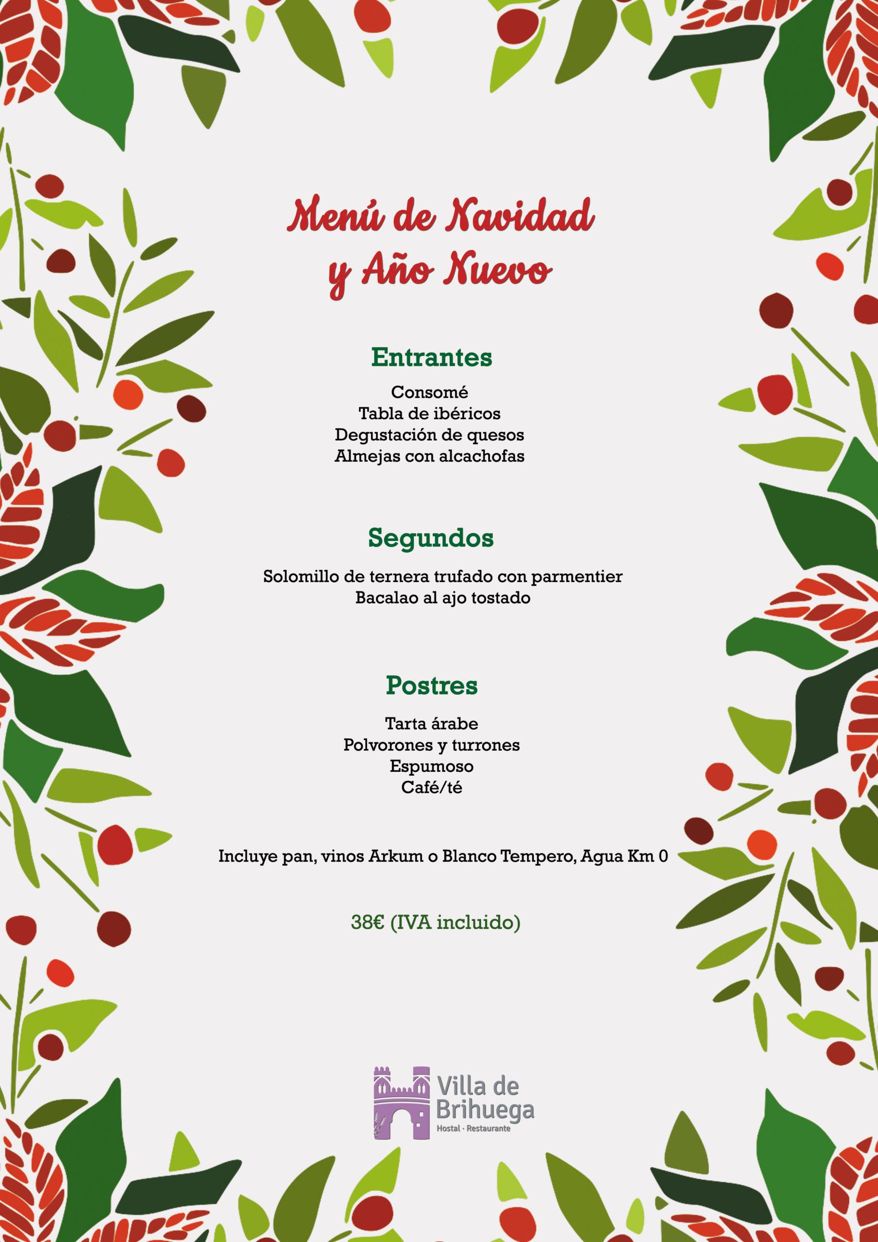 menú especial de navidad y año nuevo