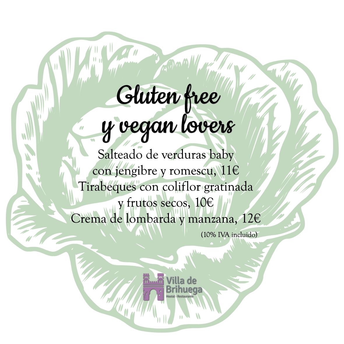 Platos gluten free y vegan lovers Villa de brihuega.