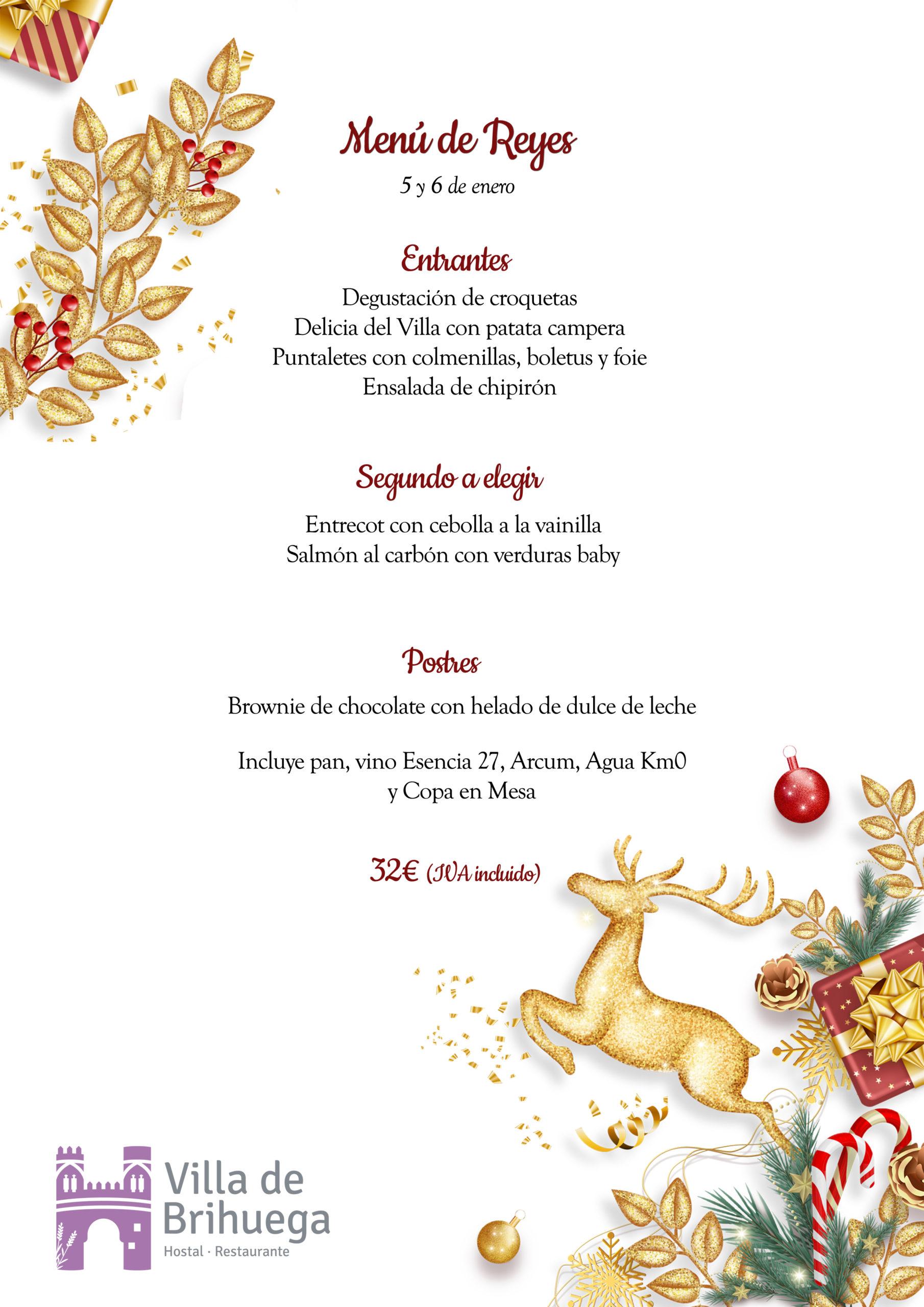 Menú de Reyes Restaurante Villa de Brihuega.
