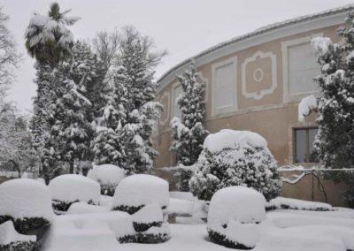 Real Fábrica de Paños de Brihuega nevada.