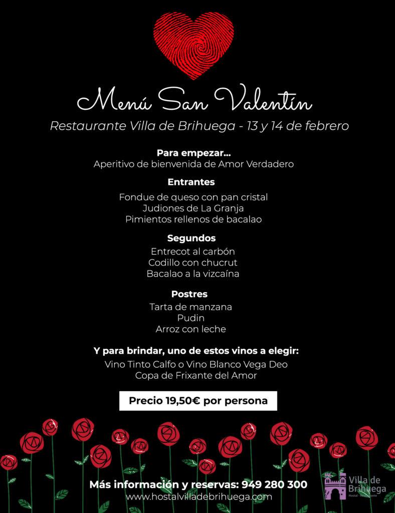 menú san valentín restaurante villa de brihuega
