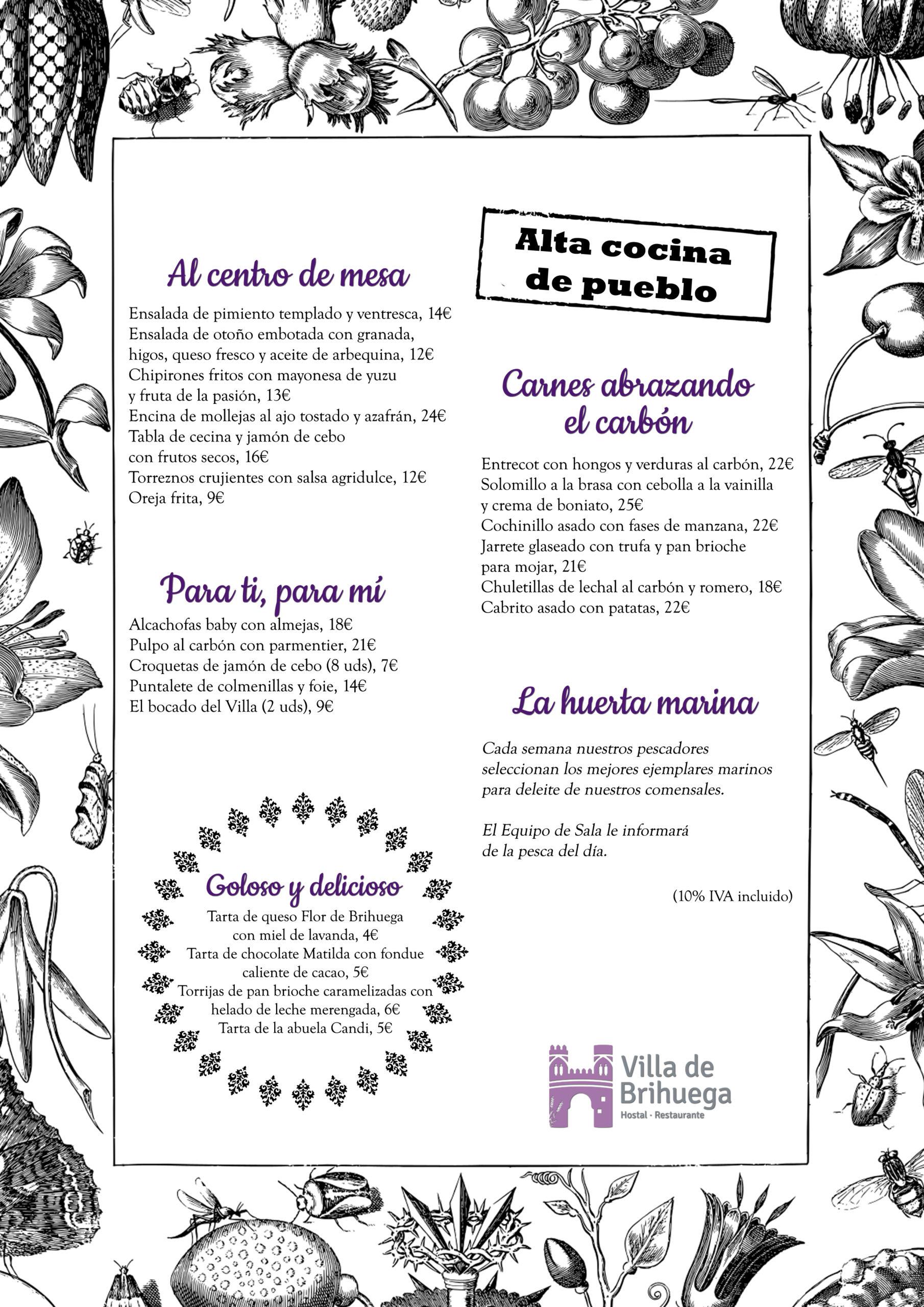 Carta Restaurante Villa de Brihuega.