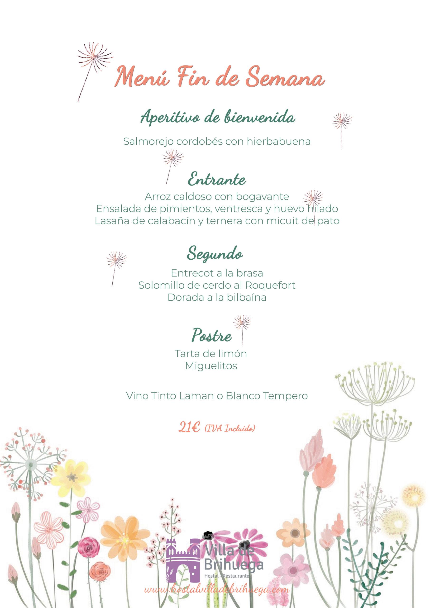 Menú fin de semana Restaurante Villa de Brihuega.