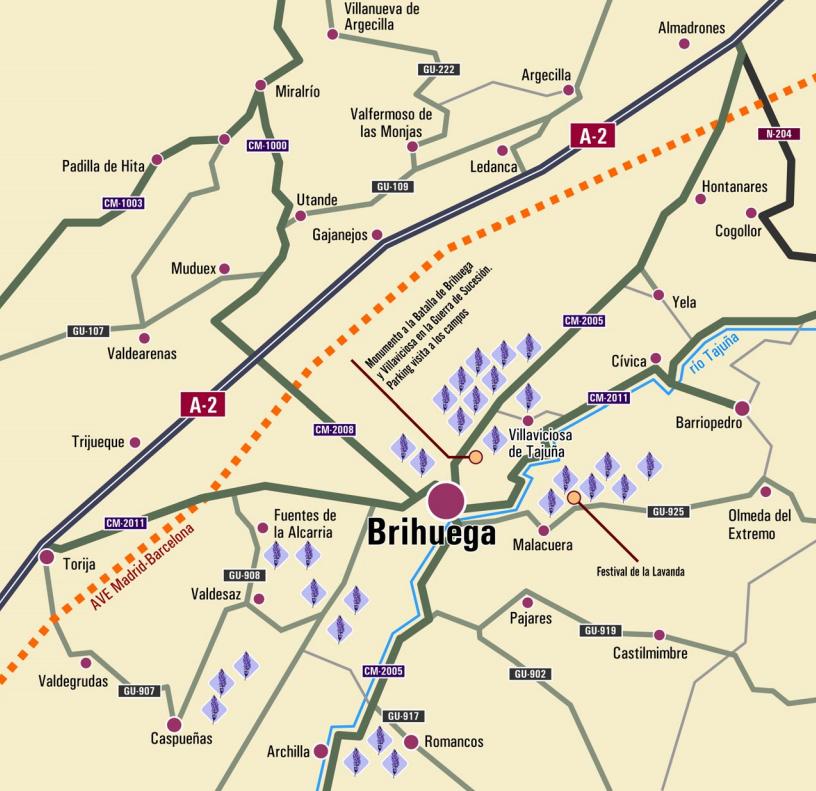 Mapa de los campos de lavanda.